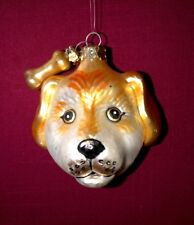Golden Yellow Dog Head with Bone Hand Painted Glass Ornament by Ganz Last 1