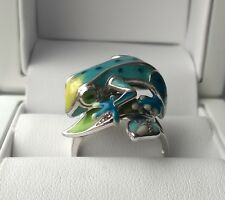 SOLID 925 STERLING SILVER BLUE GREEN ENAMEL FROG STATEMENT RING P1/2
