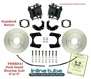 """FORD 9"""" 8"""" Rear Axle End Disc Brake Conversion Kit Small Bearing St ROTOR noPARK"""
