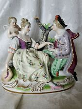 Large Vintage Dresden Porcelain Figurine Man, Woman, Cherub OUTSTANDING COND.