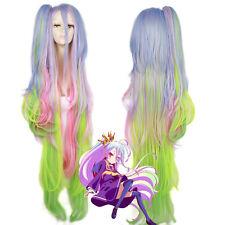 "No Game No Life Shiro 53"" Super Long Ponytail Cosplay Wig Anime Rainbow Hair Wig"