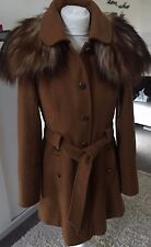 FABULOUS MISS SELFRIDGE TAN DETACHABLE FAUX FUR WOOL SWING COAT SIZE 10