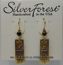 Silver Forest Mixed Metal Hook Drop Earings W Beads & Heart On A Rectangle Plate
