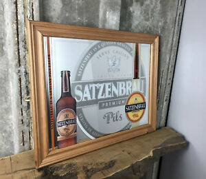 Vintage Satzenbrau Beer Pilsner Pub Mirror Guinness Man Cave Bar