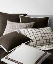 $85 NEW Ralph Lauren 2 PC DORIAN Windowpane Pillowcases Brown Ivory KING
