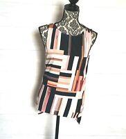 Antonio Melani Top Size Medium Abstract Geometric Design Hi Low Tunic Sleeveles