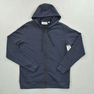 Coastaoro Hoodie Sweater Men's Size Medium Full Zip Blue Sweatshirt Top Casual