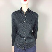 RALPH LAUREN Damen Bluse S 36 Schwarz Weiß Gepunktet Oberteil Top Hemdbluse