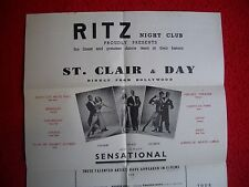 RITZ NIGHT-CLUB 1959 variete/dance team  St.CLAIR & DAY/HOLLYWOOD/new york USA