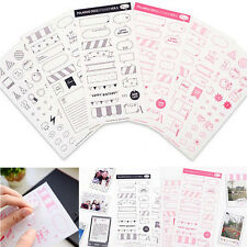 6 hojas bricolaje calendario foto papel pegatina Scrapbook Agenda Planner