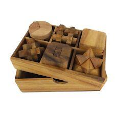 Siam Mandalay 6 Wooden Puzzle Gift Set Wood Box 3D Adults Teens IQ Brain Teaser