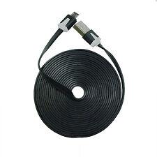 10FT Long Black Micro USB Flat Cable Charger Cord Samsung HTC LG - 100 PCS Lot
