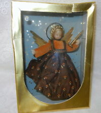 German Wax Angel Tree Topper In Original Box Velvet with Gold Accents