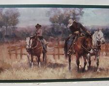 "COWBOYS TRAIL RIDING on HORSEBACK RANCHING Wallpaper Border 6 7/8"""