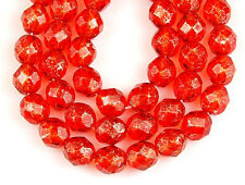 8mm Orange Silver Gold Speckle Round Faceted Glass Beads Loose Jewelry Craft