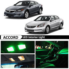 2003-2012 Honda Accord Green Interior + License Plate LED Lights Package kit