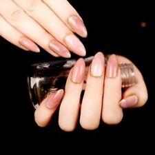 24 Pcs Pink Stone Texture Ellipse Shape Short Fake Nail Full Cover Acrylic Nails