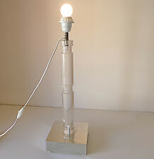 LAMPE À POSER EN PLEXIGLAS BASSE  MIROIR ANNÉES 70 VINTAGE DESIGN 1970 ATELIER