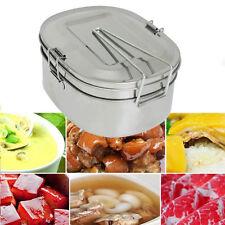 Edelstahl Rectangle Lunchbox Brotdose Vesperbox Brotbox 2 Schichten Brotzeitdose