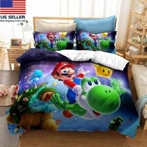 USA Super Mario Bedding Set 3PCS Duvet Cover Pillowcases Comforter Cover Gifts