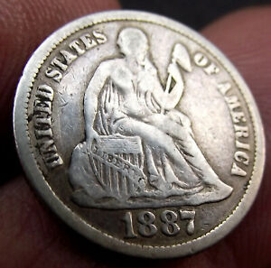 1887 One 'Seated Liberty' Dime Silver Coin - 10 Cents Coin - US America - USA