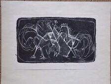 Clemens VOGT - Bois gravé Holzschnitt auf Papier signé poules 1950