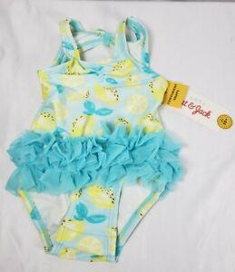 Cat & Jack One Piece Swimsuit Bathing Suit Girl 3-6M Blue w/Lemons Tutu Snaps