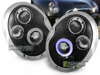 Coppia di Fari Anteriori BMW MINI COOPER R50 R52 R53 2001-2006 Angel Eyes Neri I