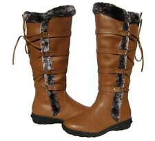 New Women's BOOTS Knee High Tan Brown Winter Fur Lined Snow shoe Ladies size 8