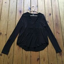 Lucky Brand size L black button front mix fabric v-neck long sleeve top
