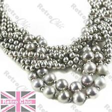 TWISTED MULTI-STRAND NECKLACE round metal beads/pearls COLLAR vintage silver plt
