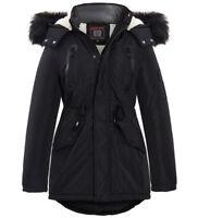 Boys Parka Jacket Fleece Hood Winter School Black Navy Coat Age 7 to 13 Years
