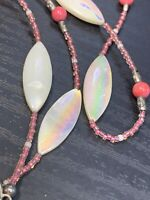 """Vtg Pretty Pink White Mother  Of Pearl Pendant  X Ling 54"""" Necklace Seed Beads"""