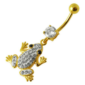 14G  Yellow Gold Plated Clear Jewelled Frog Navel Belly Piercing Jewellery