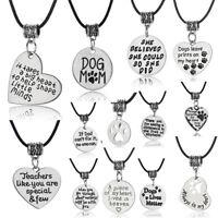 Nanny Mom Dad Pendants Leather Necklace Family Charm Dog Paw Print Jewelry Xmas