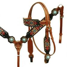 Showman Leather Bridle & Breastcollar Set w/ Embroidered Navajo Design! NEW TACK