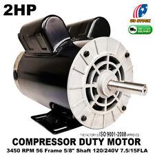 2hp Compressor Duty Electric Motor 7515amp 3450 Rpm 56 Frame 58 Shaft Us