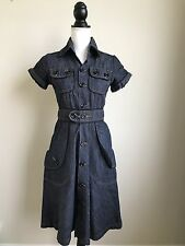 WOMEN'S COLCCI JEANS DENIM DRESS SIZE SMALL SHORT SLEEVE BUTTON DOWN POCKETS