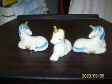 3 Ceramic Unicorn Figurines