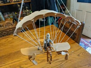 BATTERY OPERATED WOOD AIRPLANE TOY WALL HANGING PUPPET 2 PROPELLER PILOT FIGURE