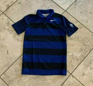 Boys Nike Golf Dri-Fit Blue and Black Striped Short Sleeve Polo Shirt Size S