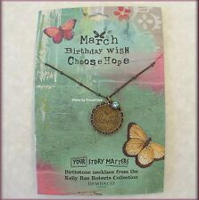 MARCH BIRTHSTONE NECKLACE BY KELLY RAE ROBERTS FASHION JEWELRY FREE U.S. SHIP
