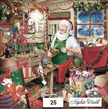 (25) TWO Individual Paper LUNCHEON Decoupage Napkins - CHRISTMAS SANTA WORKSHOP