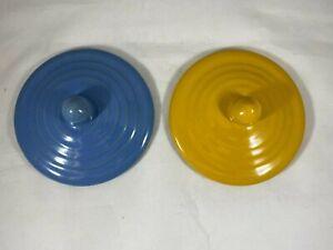 "2 Bauer ringware lids 4.5"" dia. Light Blue, Yellow. - GA"