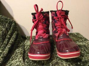 Sorel Pink Purple Flower Kids Children Rubber Lace Snow Winter Boots 4