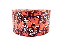 "3"" Wide Orange and Black Digital Camo Printed on Grosgrain Cheer Bow Ribbon"