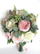 17 piece Wedding bouquet set Bridal Silk Flower PINK BLUSH GOLD CREAM Bridesmaid