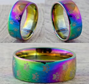 8mm Dog Paw Print Ring - New Mens & Womens Rainbow Wedding Band - Sizes M to X