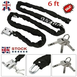 HEAVY DUTY STRONG MOTORCYCLE MOTORBIKE BIKE SECURITY CHAIN AND PADLOCK-LOCK