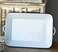 Farmhouse Enamelware Two Handle Rectangle Tray